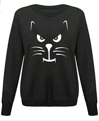 Damen Mädchen Halloween-Skelett , figurbetontes Kleid Leggings Bodysuit plus EUR Größe 36-54 (M/L (EUR 40-42), Scary Cat - Sweatshirt - (Kleid Cat Halloween)