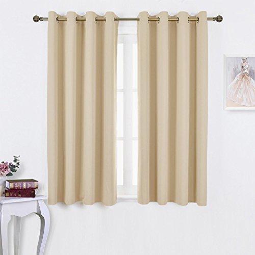 Blickdichte Vorhänge mit Ösen Vorhang - PONY DANCE 2 Stücke Blickdicht Gardinen Büro, Monochrome,158cm x 132cm (H x B), Heu