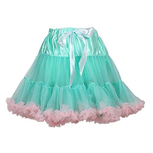 AMORETU 50s Retro Sottogonna Vintage Petticoat Fancy Net Gonna Rockabilly Tutu Mini Gonna Verde