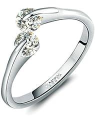 Yoursfs 18k plaqué Or blanc Solitaire en 0.5CT Diamant de simulation de Bague de fiançailles pour Femme comme cadeau ou pour Noël