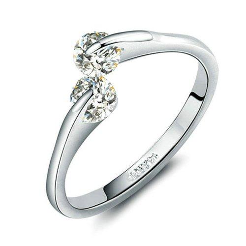 Yoursfs placcato in oro bianco 18k doppio zircone apertura modificabile anelli da donna