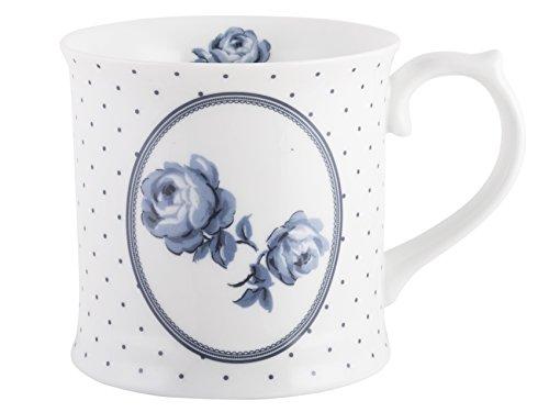 Katie Alice Vintage Indigo Porzellanbecher mit Blumen-/Punktemuster, 400 ml (14 fl oz) -