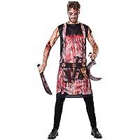 Bristol AF098 Novedad Bloody Butcher Delantal, Hombre, Negro, Rojo, Blanco, Talla