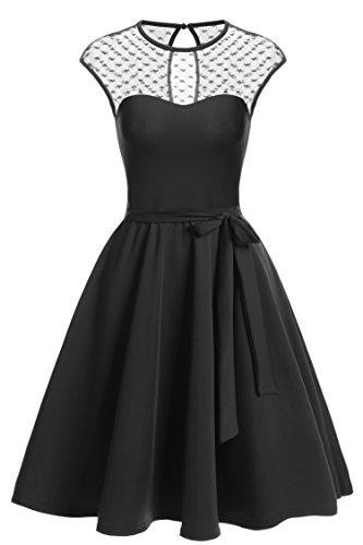 Zeagoo Elegant Damen Kleider Kurzarm Retro Vintage 50er Jahr Sewing Rockabilly Kleid Cocktailkleid Abendkleid Ballkleid Schwarz S (Vintage Niedlichen Kleid)