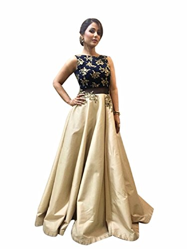 Riyan Enterprise Navy Blue and Cream Color Latest Designer Party Wear, Traditional...