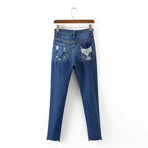 WanYang Jeans Pantalons Femmes Déchirés Trous Stretch Denim Pantalon Crayon Pantalon Collants Leggings Bleu Foncé