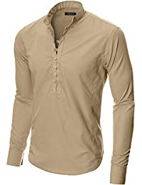 MODERNO Chemise Casual Homme Slim Fit Manches Longues Col Mao (MOD1431)