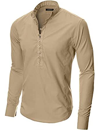 Moderno Mens Shirts Slim Fit Casual Henley Long Sleeve