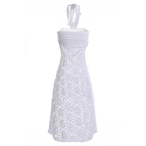 Plage Coverup femmes à bretelles Dos nu Col en V Motif Sarong Blanc - Blanc