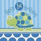 Schildkröte Baby Junge Erster Geburtstagsparty Packung Für 8, 8 tassen, 20.3x22.9cm plates, 16 servietten, 1 tischdecke