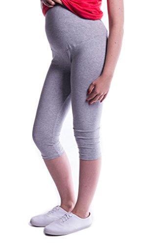 Mija - Oasi - Gute Qualität Umstandsleggings für Schwangere Capri 3/4 Leggings / Hose 3082 (M, Melange Grau)
