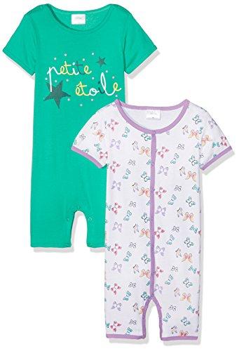 Twins Baby-Mädchen Spieler 2er-Pack, Mehrfarbig (grün/weiß 3200), 74