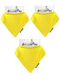 Dribble-Ons-Bavoir Bandana-Jaune-Lot de 3 (Emballage cadeau disponible)
