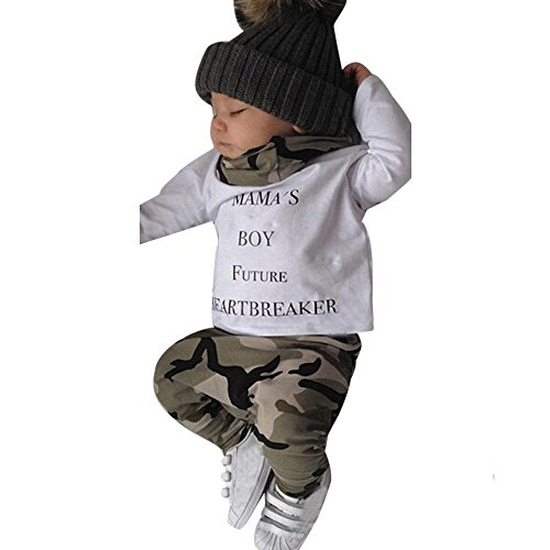 Boys Clothing Sets, SHOBDW 1Set Newborn Kids Baby Boys Outfits Clothes Letter T-Shirt Tops + Camouflage Pants (6-12 Months, Long Sleeve-A)