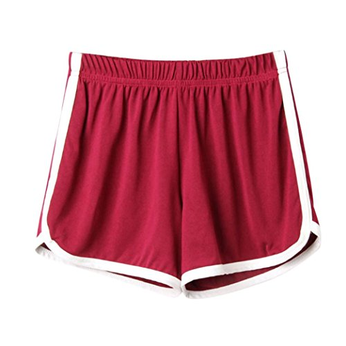 SHOBDW Las Mujeres de Moda señora de la Cintura elástica Verano sólido hasta la Rodilla cómodos Pantalones Cortos Deportivos Pantalones Casuales de Playa (S, Vino Rojo)
