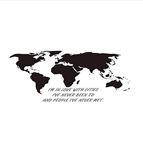 Zxfcczxf Ich Bin Verliebt In Städte Wohnkultur Wandaufkleber Zitate Vinyl AbnehmbareWeltkarte Wandtattoos SchlafzimmerKunst FürKinderzimmer Büro 10 * 43 Cm