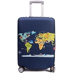 """Maddy's Home Protector de maleta divertida de dibujos animados para equipaje de 23-32 pulgadas (Map, L (Fit 26""""-28"""" suitcase))"""