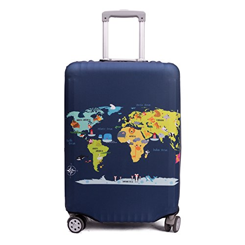 "Maddy's Home Elastica Suitcase Cover Proteggi bagagli luggage Cover,Pop Gatto (Map, M (Fit 23""-25"" suitcase))"
