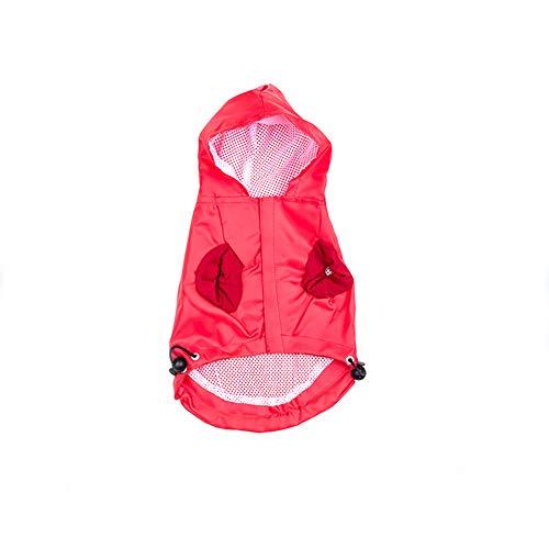 strimusimak Neue Kapuze Regenmantel Gummiband atmungsaktive Jacke wasserdicht Regen Beweis für Haustier Hund Red S (Regen Beweis Kostüm)