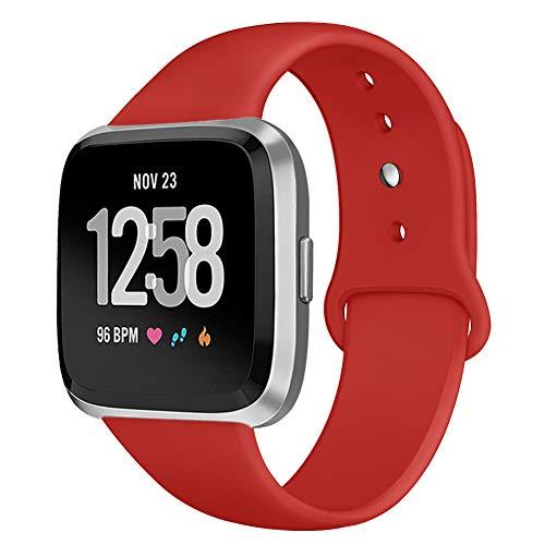Kmasic Sport Armband Kompatibel Fitbit Versa, Soft Silikon Ersatz Armband für Fitbit Versa Smart Fitness Uhr, gro, rot