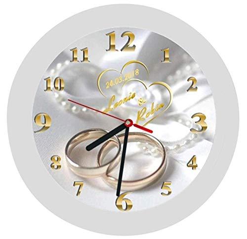 Wanduhr 5 -Geschenk-Hochzeitstag-Hochzeitstaggeschenk-Ehe-Trauringe-Herzen-Polterabend-personalisiert *KEIN TICKEN* -