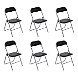 Set di 6sedie pieghevoli Fanilife metallo pieghevole sedie con seduta in PVC retro ufficio reception sedie pieghevole da tavolo da cucina Black immagine