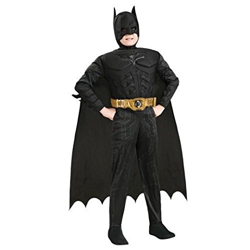 Original Lizenz Batmankostüm Kostüm Batman für Kinder Kinderkostüm The Dark Knight Rises Fledermauskostüm Fledermaus schwarz mit Umhang und Maske Gr. L, M, Größe:M