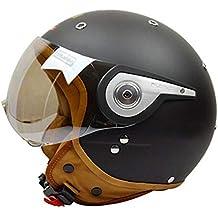 MATEROP Motocross Media Cara Casco para Hombres Mujeres Motocicleta Bicicleta eléctrica Casco de Seguridad Matte Black