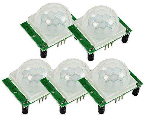 COM-FOUR® HC-SR501 Pyroelektrischer Infrarot PIR Bewegungssensor Detektor Modul (5 Stück)