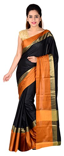 The Design Hub Women's Cotton Silk Saree (Black & Mustard)