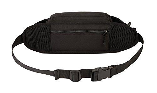 Feehan Flache Bauchtasche Hüfttasche mit-Blockierung und 2 Hüftgurten für Damen und Herren - enganliegend und wasserabweisend - Geldgürtel zum Sport, Reisen und Joggen | Feehan des Reisegürtel Schwarz