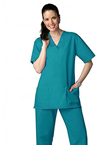 Adar Medical Unisex Drawstring Hospital Nurse Scrub Set (Available in 39 colors) - 701 - Teal Blue - L