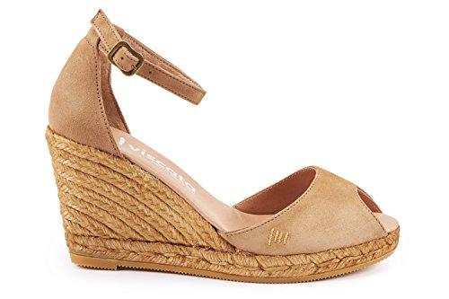 VISCATA Caprubi Elegant Comfort, Soft Suede, Ankle-Strap, Open Toe, Espadrilles with 3-inch Heel Made in Spain Camel