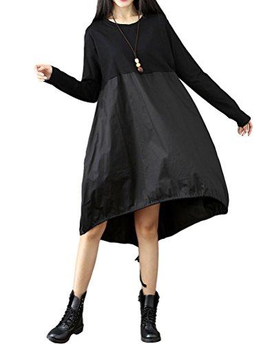 Vogstyle Damen Langarm A-Linie Beiläufige Lose mit Tasche T-Shirt-Kleid Black S (Leinen T-shirt Kleid)