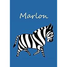individualisiertes Malbuch / Notizbuch / Tagebuch - Marlon: Zebra - A4 - blanko