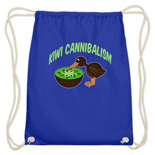 Cannibalism - Kiwifrucht und Kiwivogel - Baumwoll Gymsac -37cm-46cm-Royales Blau ()