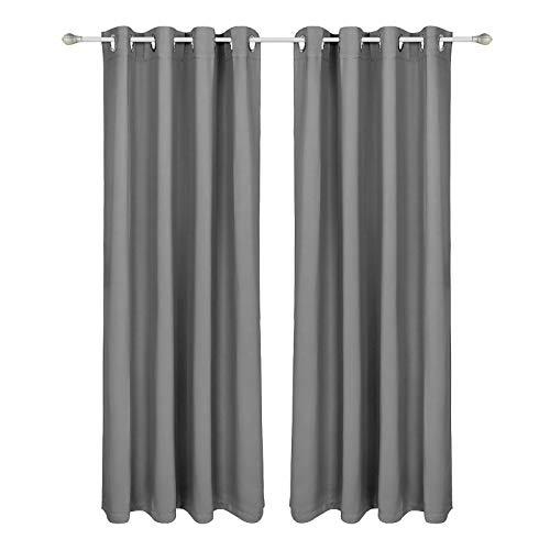 SONGMICS Vorhang Blickdicht 2er Set, Thermo-Gardine, Verdunkelungsvorhang, mit stabilen Metallösen, 145 x 175 cm, einfach anzubringen, grau LRB175GY-2