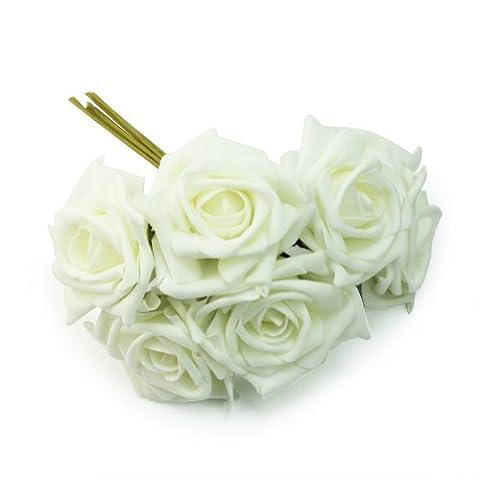 haut niveau Bouquet de Roses artificielles 6 tetes Diametre 7.5cm Couleur d