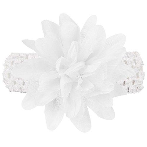 erthome Stirnband, Baby weiche Blumen Stirnband Spitze Bogen Haarband Blumen Stirnbänder (Weiß) - Perlen Kappe Ärmel Cap
