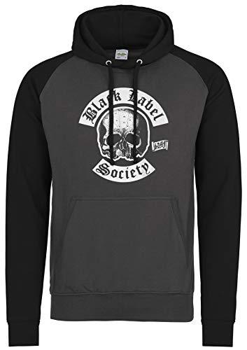 LaMAGLIERIA Unisex- Baseball Hoodie Black Label Society New Logo - Kapuzenpullover Metal Band, L, Charcoal/Jet Black -