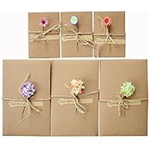 10pcs Tarjeta de felicitación de hecha a mano DIY Retro Kraft papel en blanco sobres eterna vida flores secas decorado postal en blanco Tarjeta de nota Set