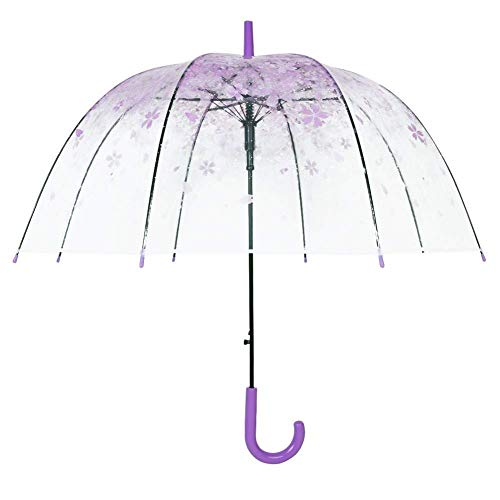 AaaSue Lady of Luck Regenschirm mit Kirschblüten, transparent, halb-automatisch, langer Griff, für helle Sicht -