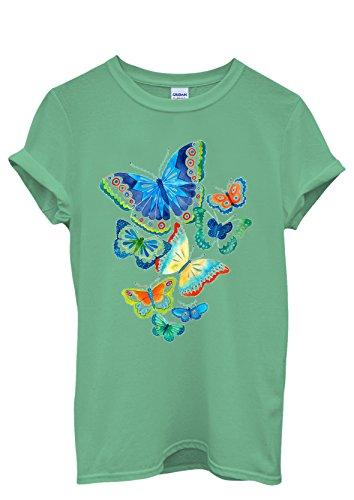Butterfly Colourful Art Drawing Funny Men Women Damen Herren Unisex Top T Shirt Grün