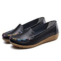 Fancybox Ladies Black Leather Loafers Flat Shoes Women