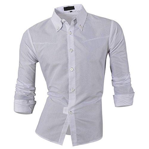 Jeansian Men's Slim-Fit-Hemd, Langarm Weiß - Weiß