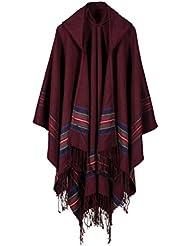 Estilo de moda Nepal las mujeres de gran tamaño gruesa manta de abrigo Poncho mantón de la bufanda con capucha capa acogedor imitación Cachemira Ideal regalos para mujer 150 * 130cm , red