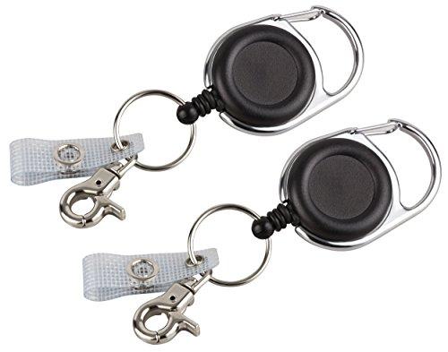 2 Stk. Schlüssel JoJo bzw Ausweis JoJo von BE-HOLD mit extra starker Feder und reißfester Schnur bietet mit Gürtelclip, Schlüsselring und textilverstärkter Lasche vielfältige Möglichkeiten