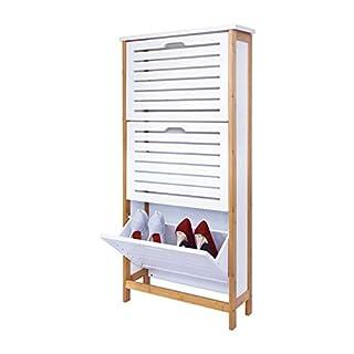 Zri Bambou Organiseur de tiroir Armoire de Rangement à Chaussures avec 3Portes Pull Down pour Couloir sur Pied Blanc