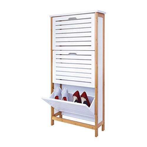 ZRI Bamboo Schuhschrank Regalsystem Bambusholz Schuhablage mit 3 Klappen,107x53x18CM/Schuhkipper in weiß
