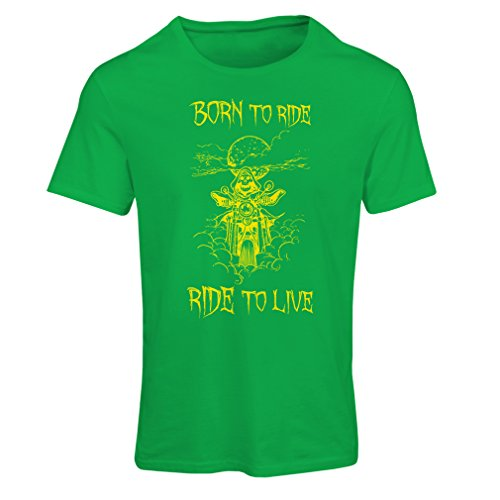 Maglietta Donna Born To Ride! Motorcycle Clothing (X-Large Verde Multicolore)